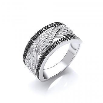 Cavendish Franse zwart en helder Zirkonia Ring geweven