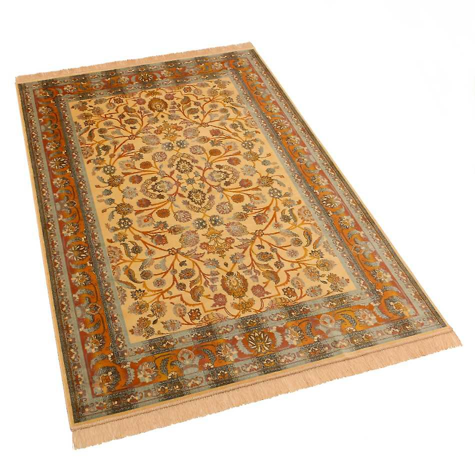 Large Gold Afghan Ziegler Artificial Faux Silk Effect Rugs 5663/41 160 x 230cm