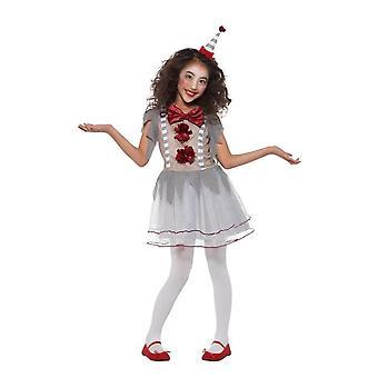 Vintage palhaço circo menina fantasia, de Halloween Fancy Dress, grande idade 10-12