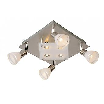 Lucide Kolla LED Modern Square Glass Satin Chrome Ceiling Spot Light