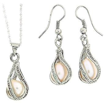 The Olivia Collection Silvertone Caged Cultured Pearl Pendant & Earring Gift Set