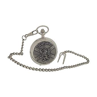 Boxx Gents Scotland Lion & Cross Design Cover Pocket Watch 14 Inch Chain BOXX397