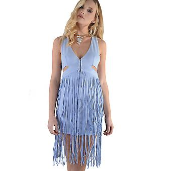 Lovemystyle pastell blå mocka klänning med tofsar