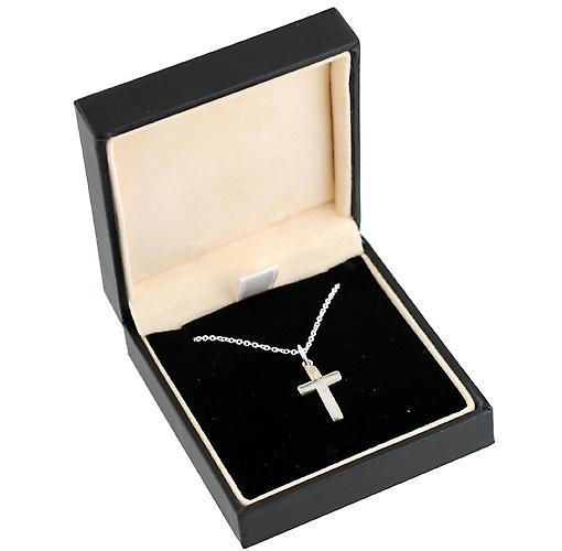 Silver 16x10mm Star cut flat Cross with Rolo chain