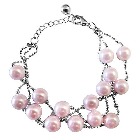 Three Stranded Bracelet Pink Pearl Fashionable Adorable Fancy Bracelet