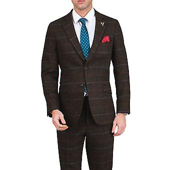 Dobell Mens Brown Tweed Jacket Regular Fit Notch Lapel Windowpane Check