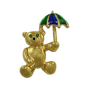 Eternal Collection April Showers Teddy With Umbrella Enamel And Gold Tone Brooch