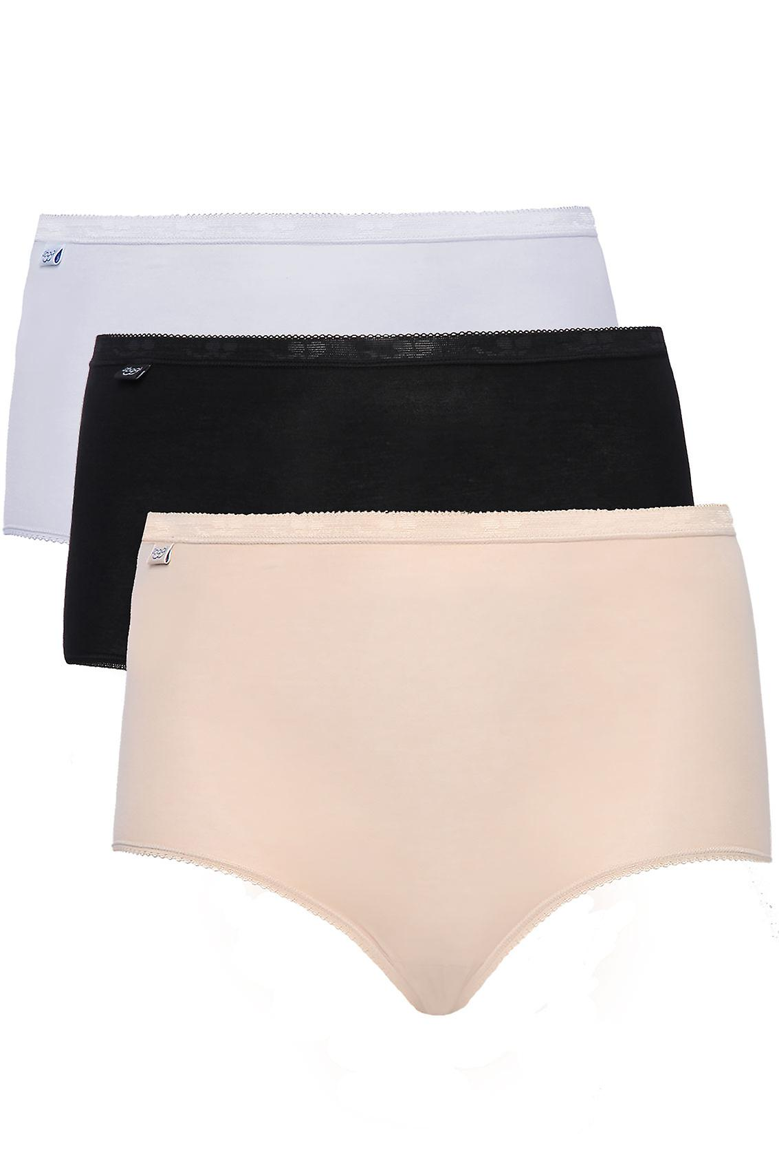 SLOGGI 3 PACK Black, White And Nude Basic Maxi Briefs