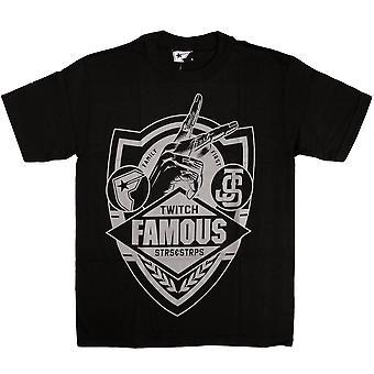Cintas y estrellas famosas JS familia primer escudo camiseta negro gris