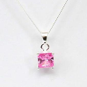 Toc Sterling Silver Pink Princess Cut Pendant on 18 Inch Chain