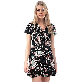 Womens Brave Soul Floral Frill Wrap Dress In Black
