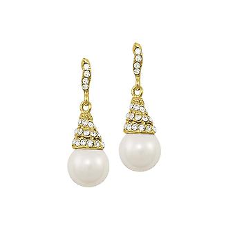 Eternal Collection Renata White Pearl And Austrian Crystal Gold Tone Drop Pierced Earrings