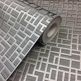 3D Effect Geometric Wallpaper Metallic Silver Textured Paste Wall Vinyl Arthouse