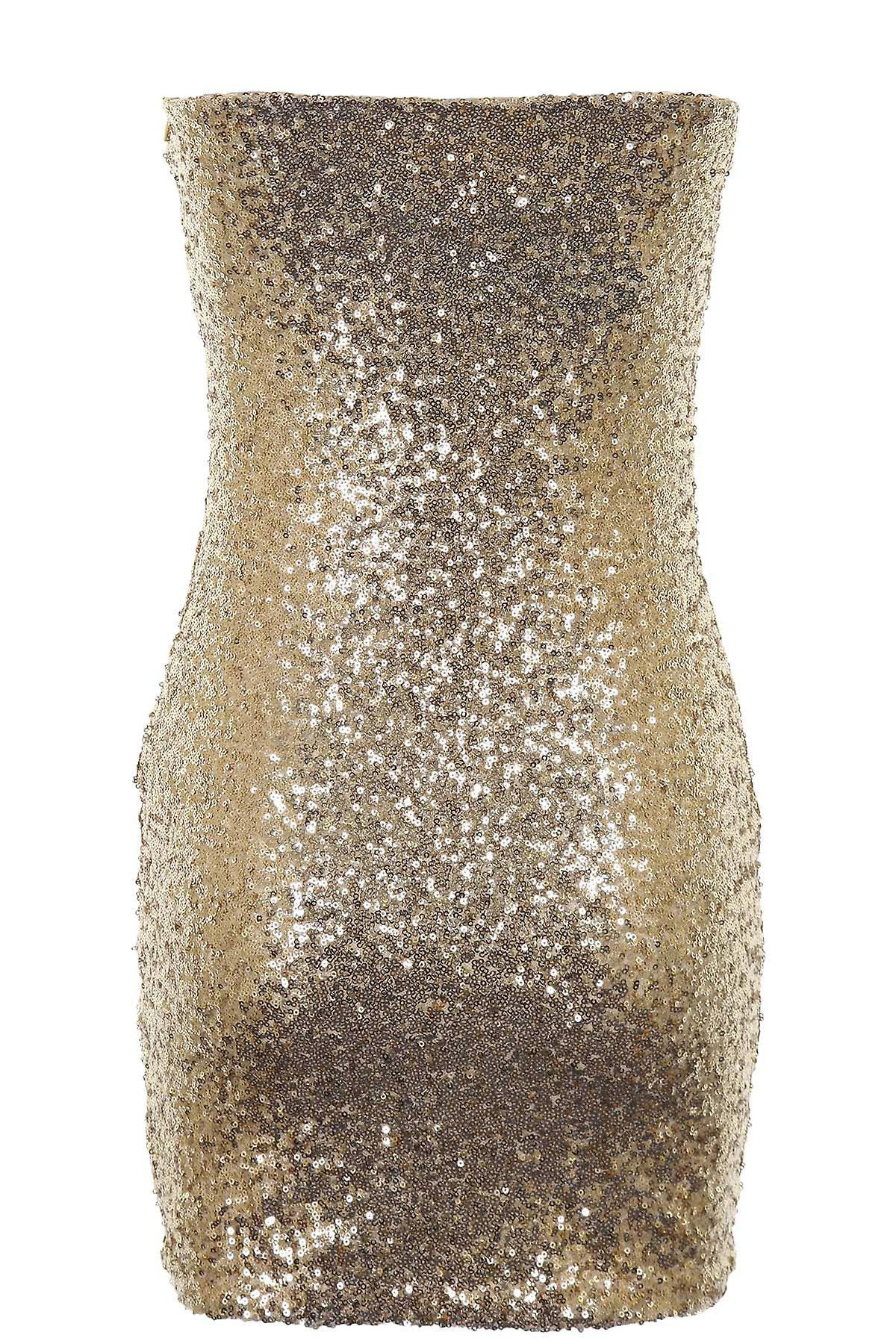 Ladies Gold Black Purple Shiny Sequin Boobtube Womens Bodycon Dress