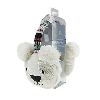 Cozy Ears Click & Heat Knitted Animal Ear Muffs: Polar Bear