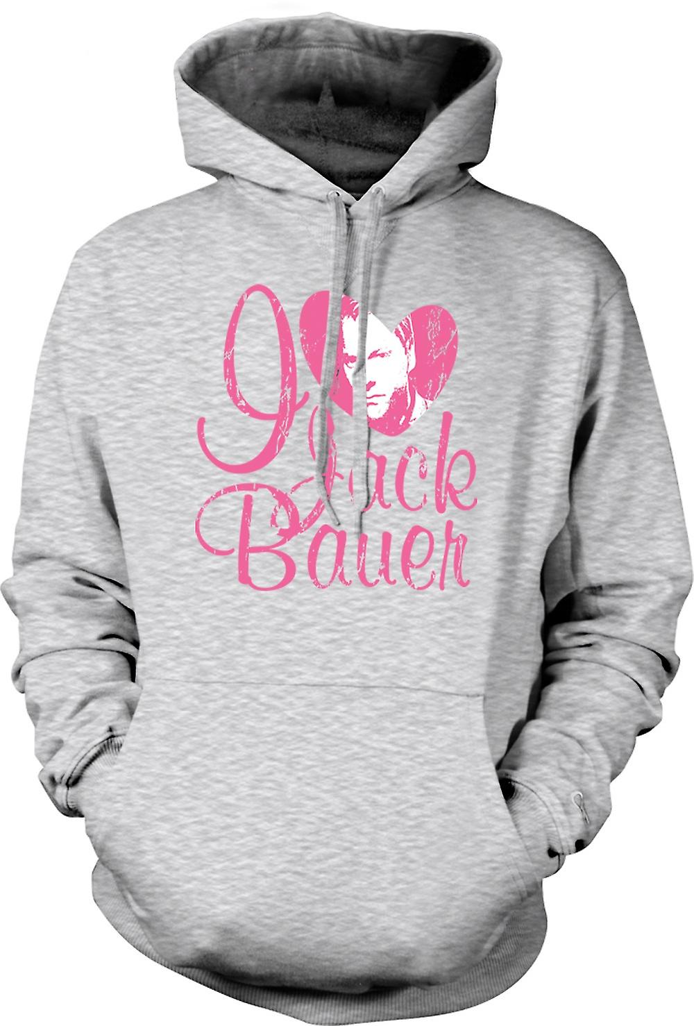 Mens Hoodie - jag älskar Jack Bauer 24 - Keifer - Tv - Film