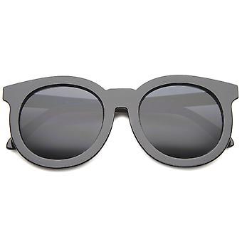 Chic cuerno de gran tamaño con borde lente plana de mujeres redonda de gafas de sol 64mm