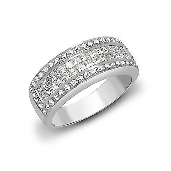 Jewelco London Ladies Solid 18ct White Gold Channel Set Princess G SI1 1.09ct Diamond Hollywood Mirror Eternity Ring 7mm