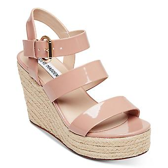 Steve Madden Womens Valery Open Toe Ankle Strap Wedge Pumps