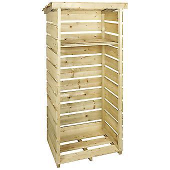 Charles Bentley Holz Single Tall Log Store Firewood Garden Aufbewahrungseinheit