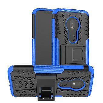 Für Motorola Moto G7 Play Hybrid Case 2teilig Outdoor Blau Tasche Hülle Cover Schutz