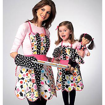 Adult Children's 18 Doll Aprons And Mitt  All Sizes In One Envelope Pattern K0124