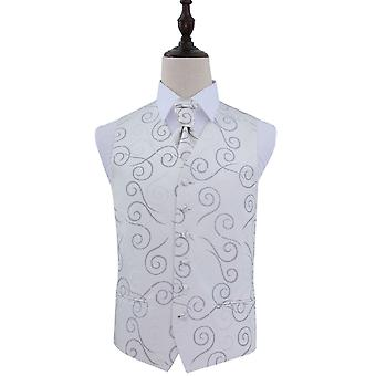 Silver Scroll Patterned Wedding Waistcoat & Cravat Set