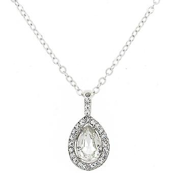 Silver and Clear Swarovski Teardrop Pendant Chain
