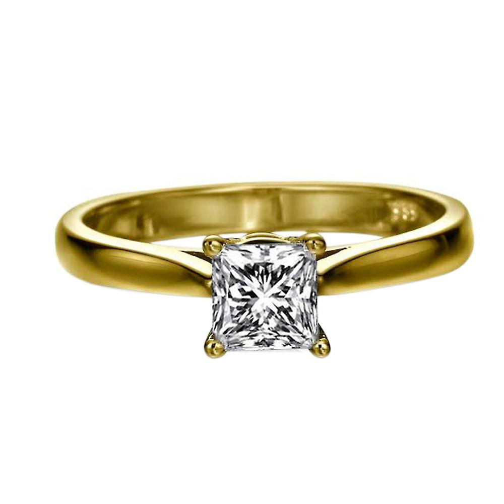 0,5 carat E VS2 Diamond Engagement Ring 14K Solitaire or jaune classique Princesse