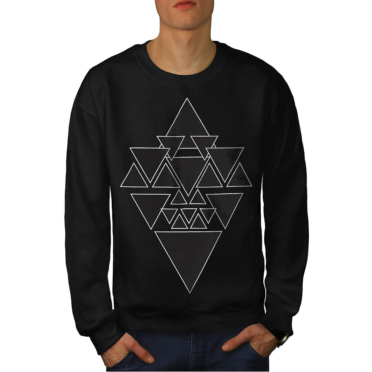 Triangle Star Night Sky Line Love Men Black Sweatshirt | Wellcoda