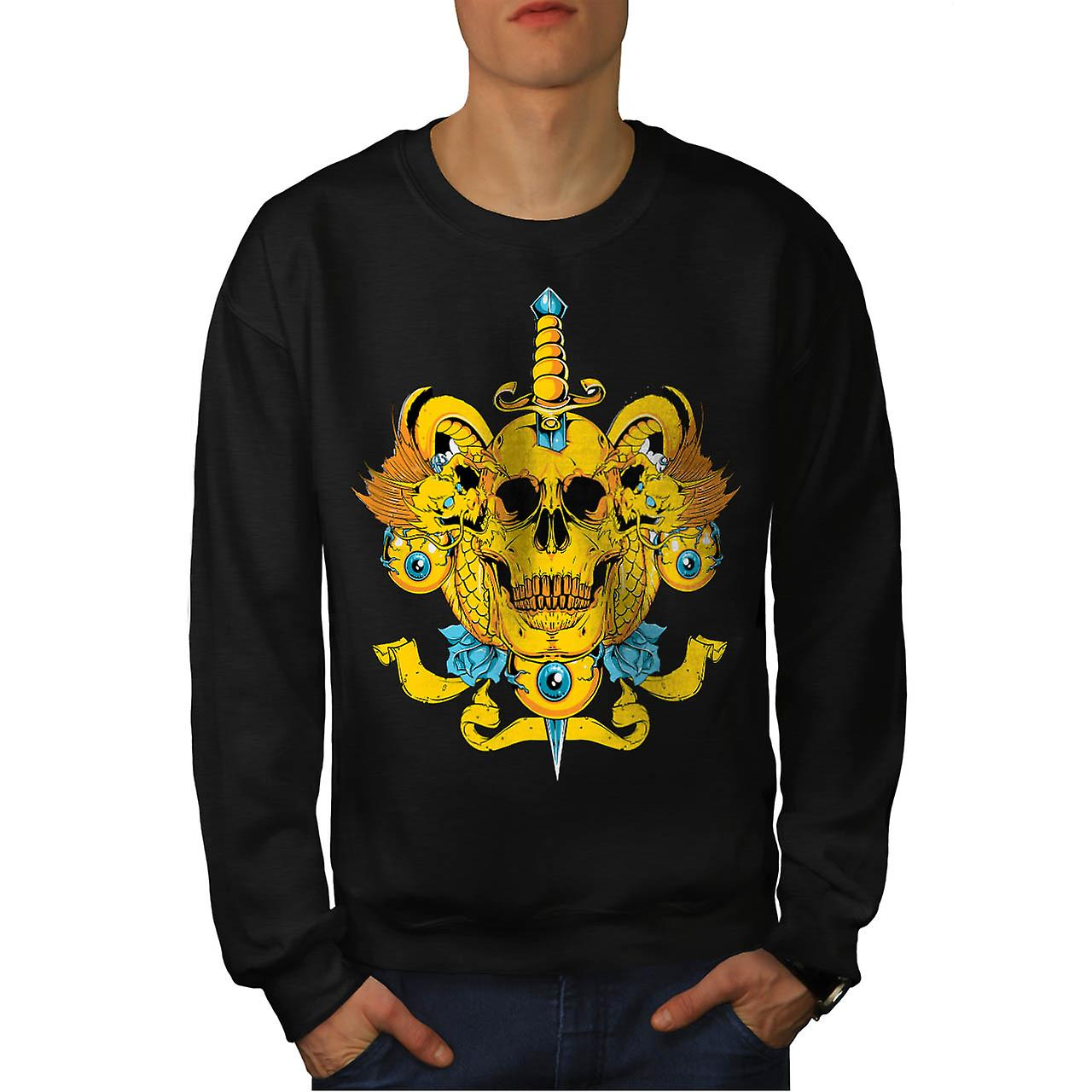 Sword Skull Head Dead Devil Eyes Men Black Sweatshirt | Wellcoda