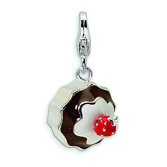 Sterling Silver 3-D Enameled Dessert With Lobster Clasp Charm - 2.9 Grams - Measures 24x12mm