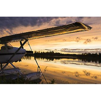 Six Mile Lake and float planes at sunset near Anchorage Alaska PosterPrint