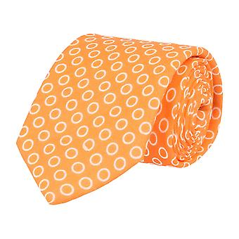 Pellens & Loïck classique cravate lin motif cercle Orange