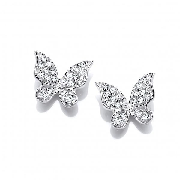 Cavendish French CZ and Sterling Silver Natural Butterfly Earrings