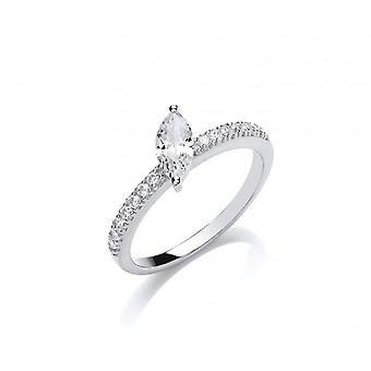 Cavendish French Silver and Offset CZ  Solitaire Stacking Ring