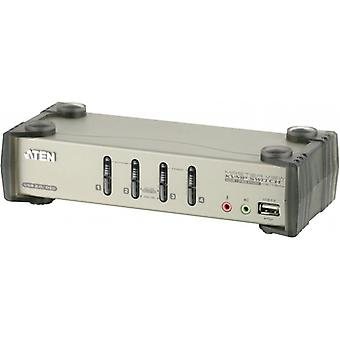 ATEN KVM switch, 1 console controls 4 computers, USB, 2 extra USB ports, OSD