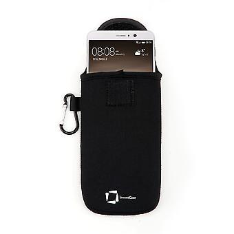 InventCase neopreen Slagvaste beschermende etui gevaldekking van zak met Velcro sluiting en Aluminium karabijnhaak voor Huawei Mate 9 - zwart