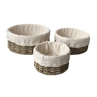 Set of 3 Cotton Lined Round Seagrass Tray