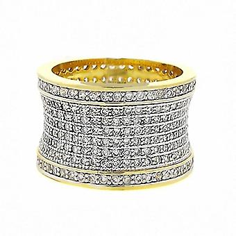 Iced out bling micro pave ring - FREEDOM two tone