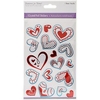 MultiCraft Crystal Foil Stickers-Hearts Red SS176-B