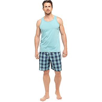 Mens Wolf & Harte Cotton Vest Top And Printed Shorts Pyjama Lounge Wear