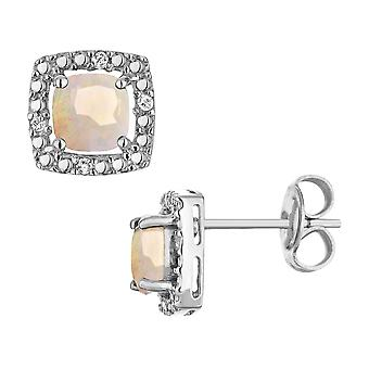Created Opal Earrings with Diamonds in Sterling Silver