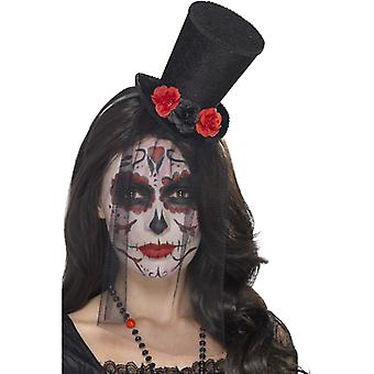 Day of the dead Halloween ladies Hat mini cylinder on headband
