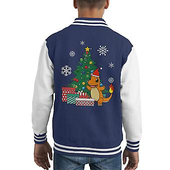 Pokemon Charmander Christmas Tree Kid's Varsity Jacket