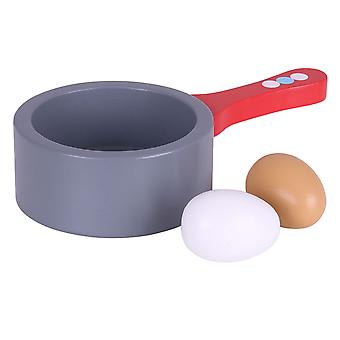 Bigjigs Toys Wooden Saucepan and Eggs - Pretend Play and Role Play for Children