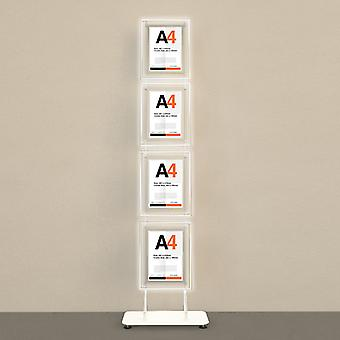 Floor Standing 4 poche A4 Portrait Poster LED Display