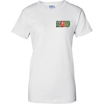 Bangladesch-Grunge-Land Name Flagge Effekt - Damen Brust Design T-Shirt