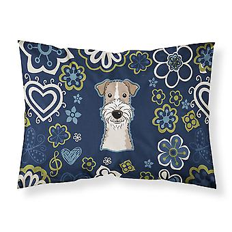 Blue Flowers Wire Haired Fox Terrier Fabric Standard Pillowcase