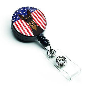 Carolines Treasures  BB2170BR American Flag and Min Pin Retractable Badge Reel